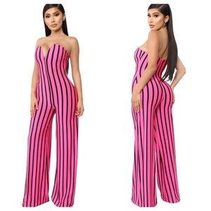 Fashion Nova Sassy Attitude Pink Stripe Jumpsuit